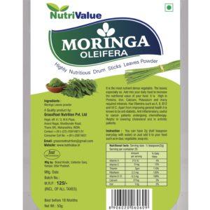 Nutrivalue Moringa Oleifera - Highly Nutritious Drum Sticks Leaves Powder,50g
